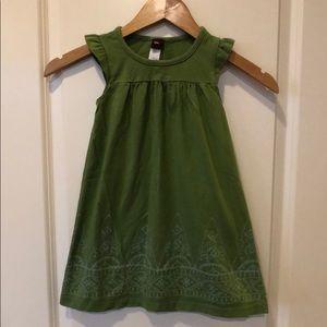Green Batik Print Tea Collection Dress Sz. 4T